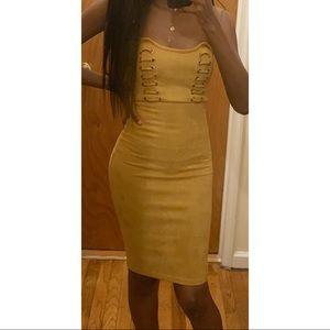 Zara Dresses - Suede Lace Up Bustier Dress